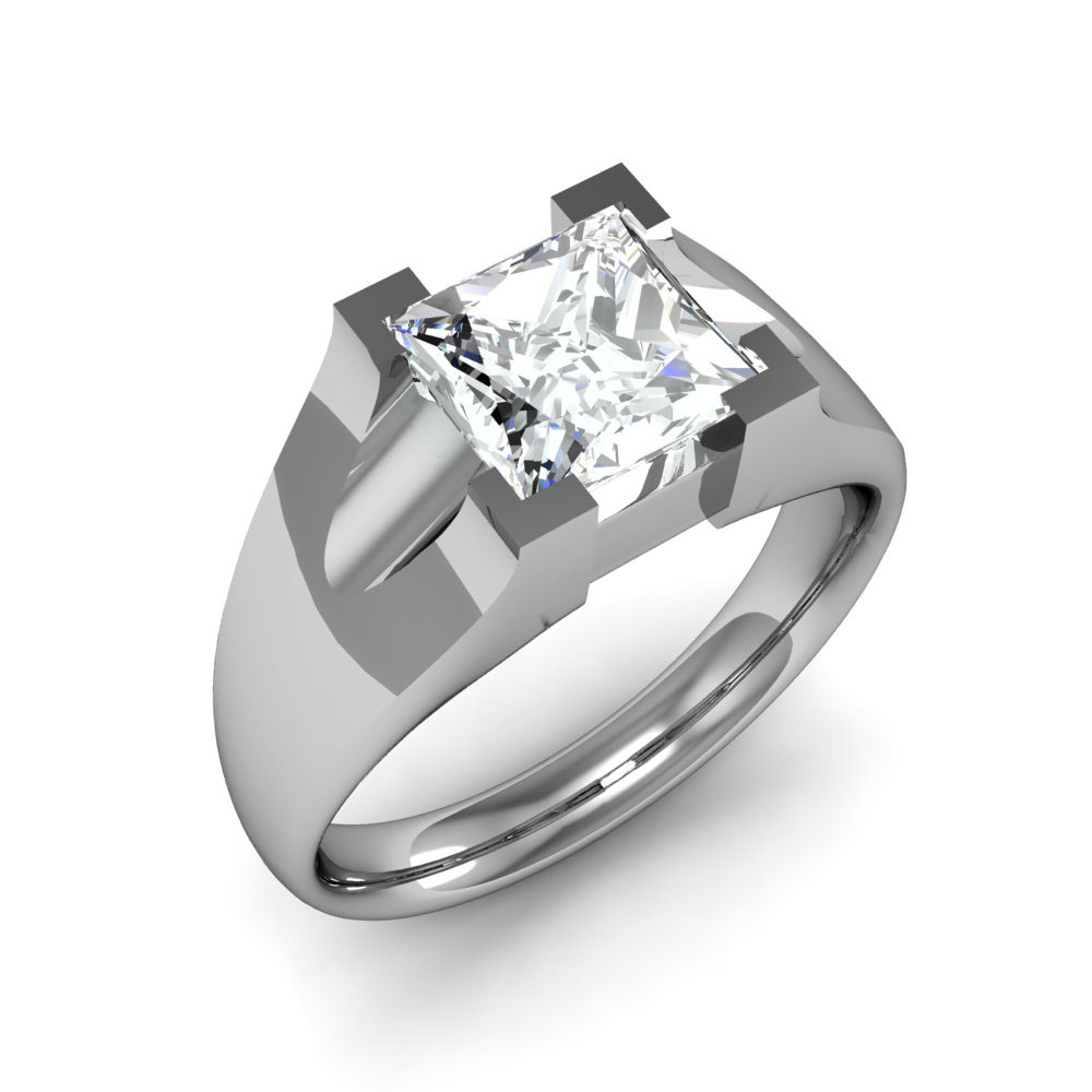 4mm Wide Shank w/ Cutters Natural Diamonds Engagement Ring