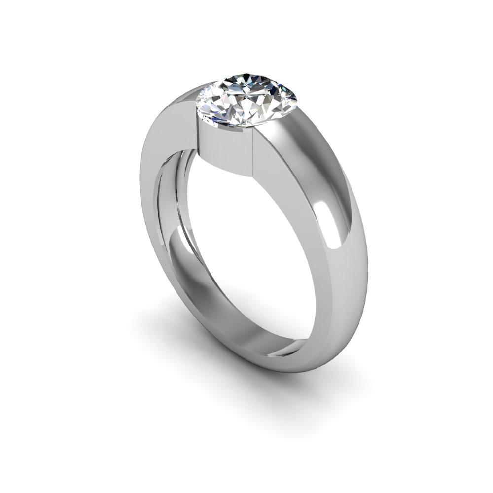 4mm Round Bezel Setting Natural Diamonds Ring