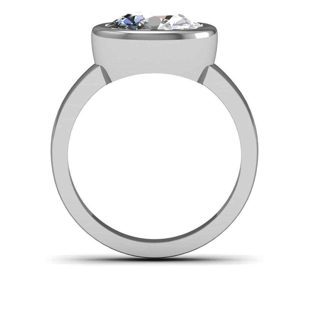 4mm Round Raised Bezel Setting Natural Diamonds Ring