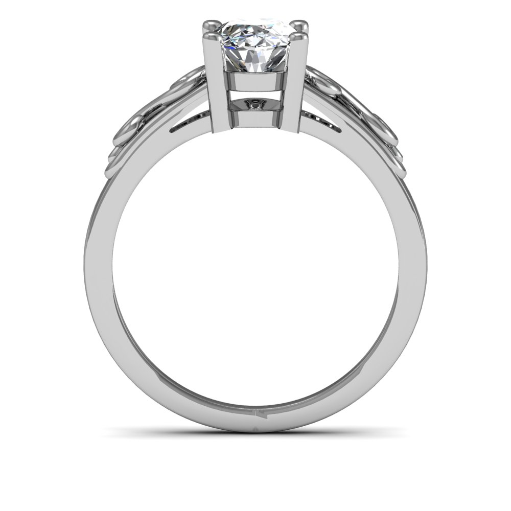 2mm Scroll Shank Design Solitaire Natural Diamonds Engagement Ring