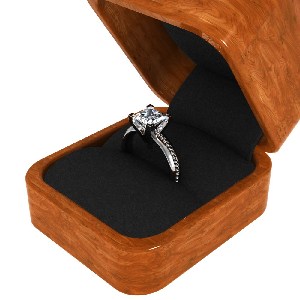 4mm Single Bead Design Solitaire Natural Diamonds Engagement Ring