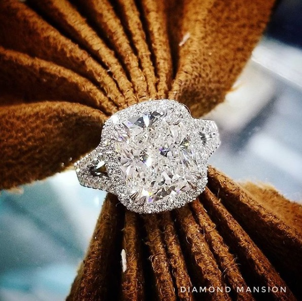 Natural Split Shank Halo Pave Diamond Engagement Ring