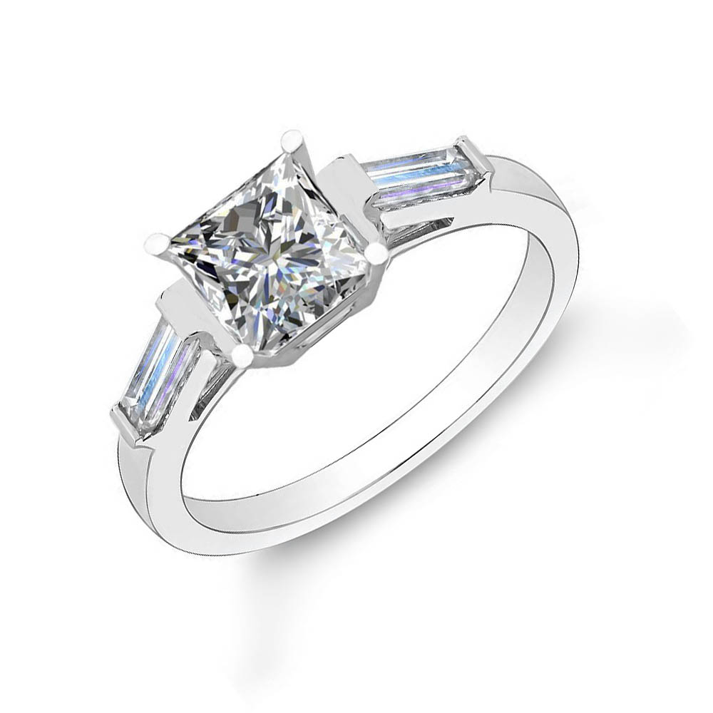 3-Stone w/ Baguette Sides Natural Diamonds Engagement Ring
