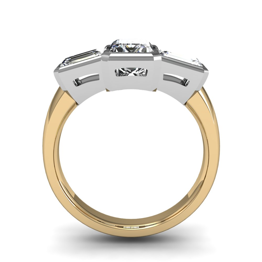 3 Stone Emerald Cut Bezel Set Diamond Engagement Ring