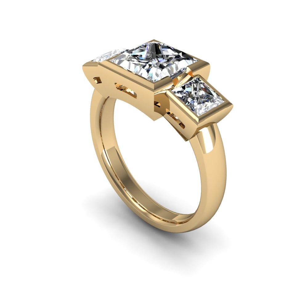 3 Stone Princess Cut Bezel Set Diamond Engagement Ring