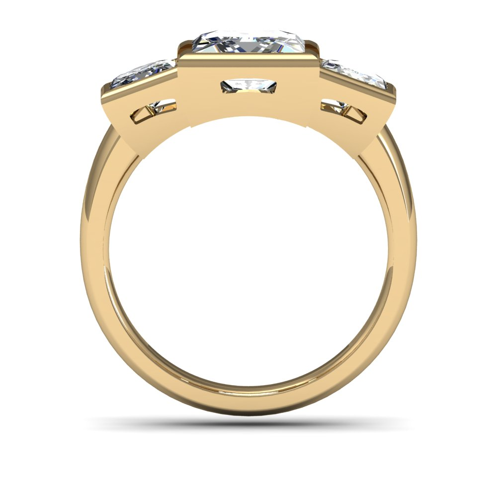3 Stone Cushion Cut Bezel Set Diamond Engagement Ring