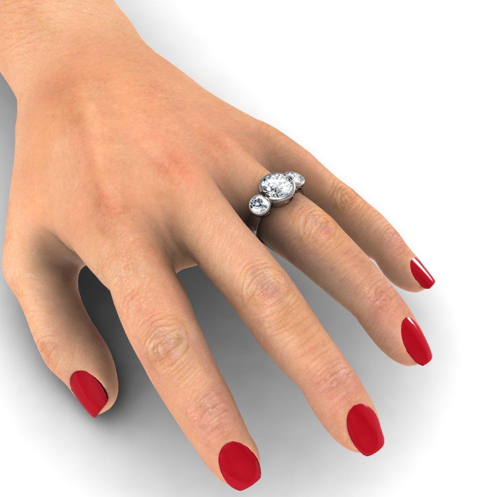 3 Stone Round Cut Bezel Set Diamond Engagement Ring