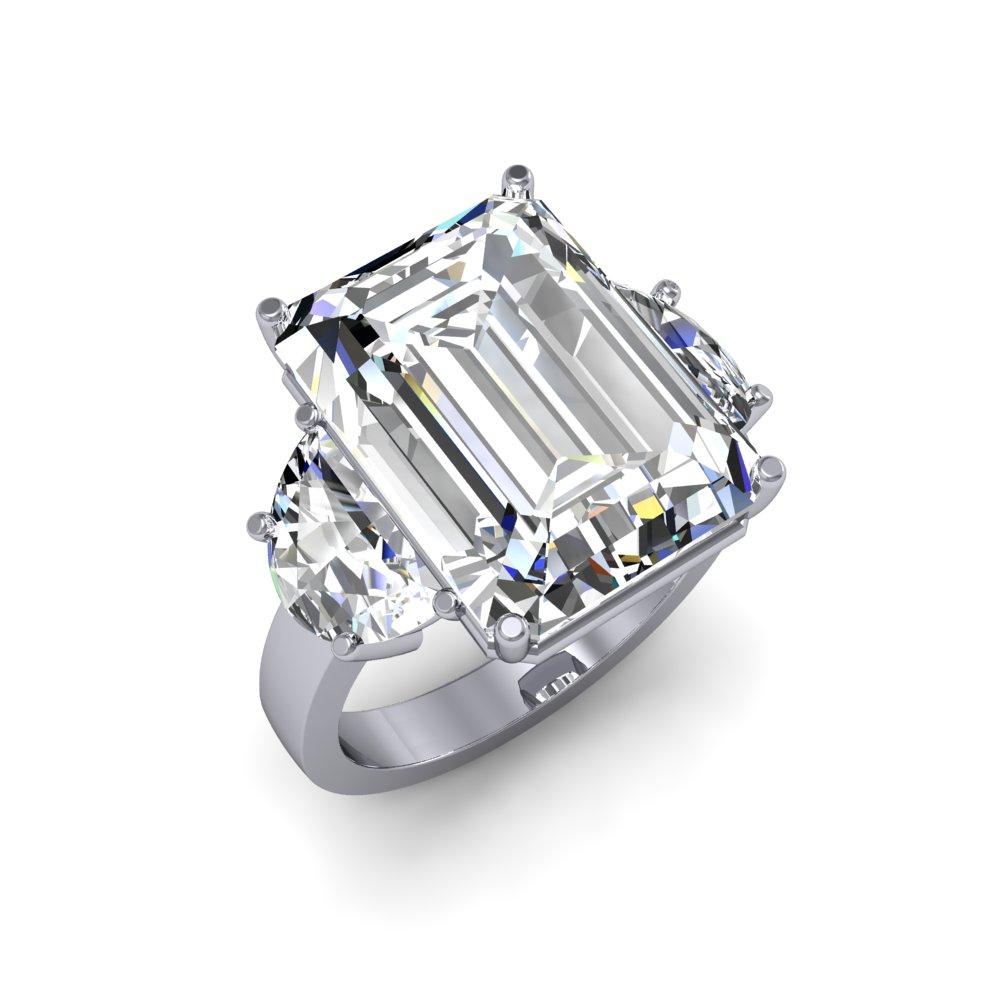 11 5 CTW Natural Emerald Diamond Simple 3 Stone Engagement Ring I VS1 GIA