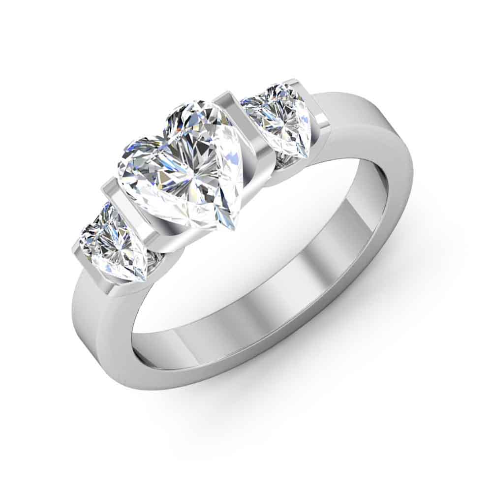 3 Stone Heart Bar Setting Diamond Engagement Ring