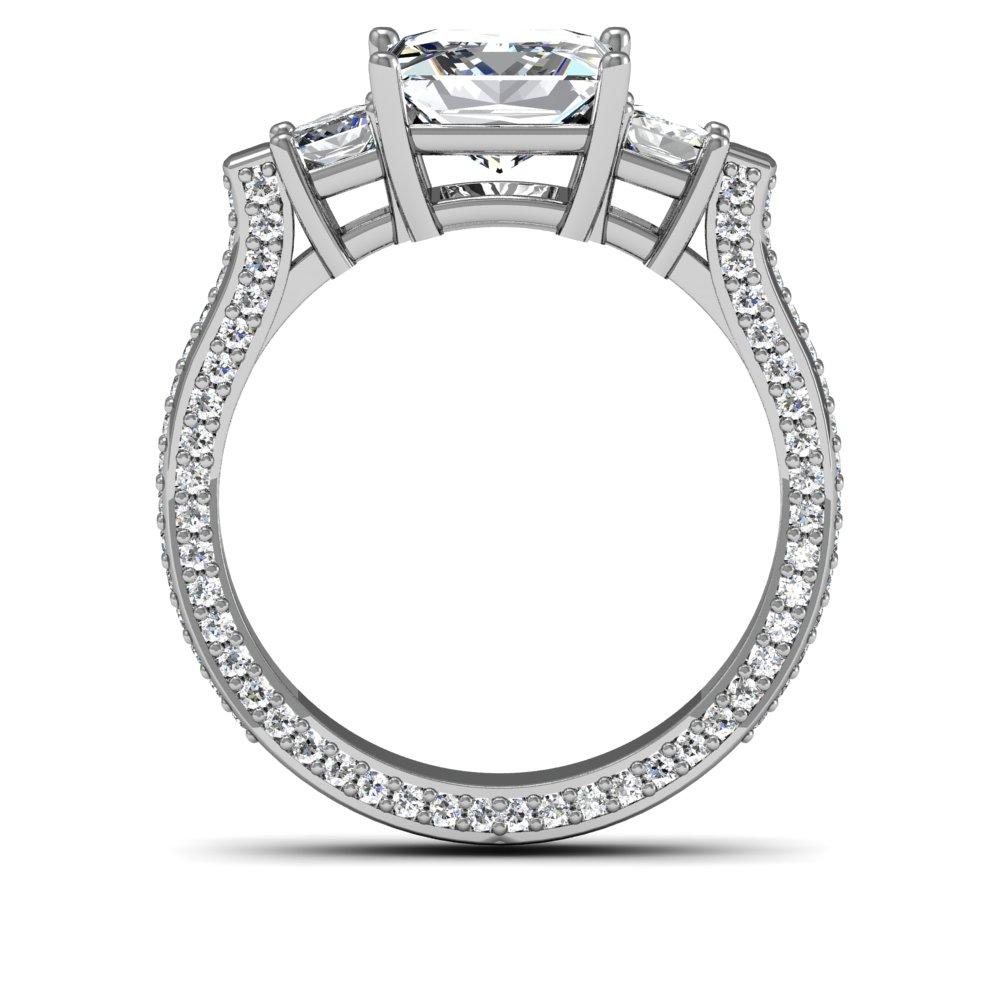 3-Stone 3-sided Pave w/ Radiant Sidestones Diamond Ring