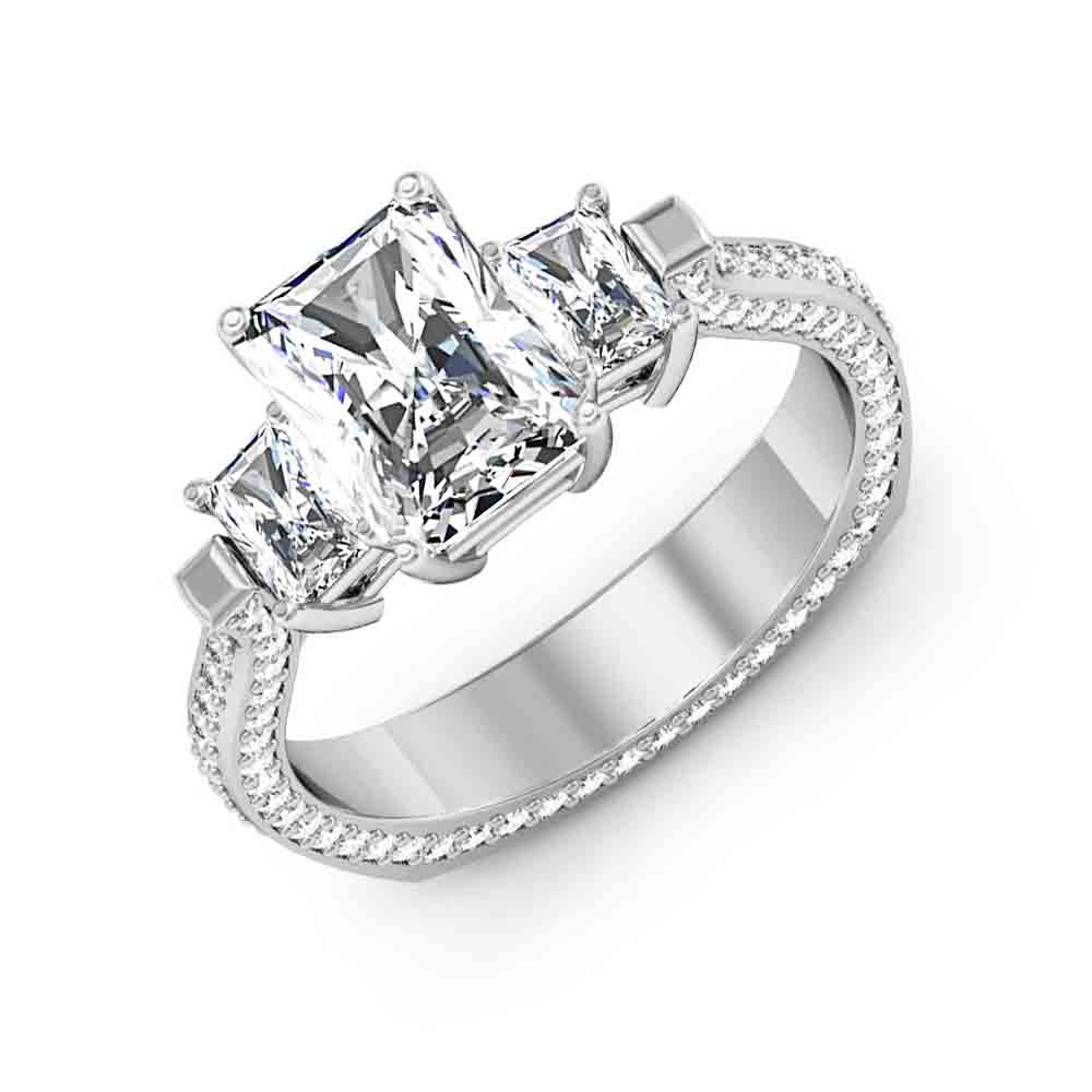 3-Stone 3-sided Pave w/ Radiant Sidestones Diamond Ring