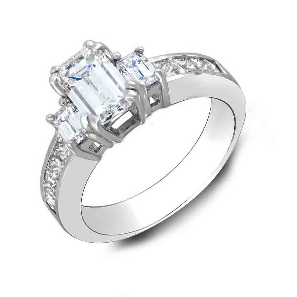 3-Stone Dual Claw Prong w/ Emerald Sides Channel Diamond Ring