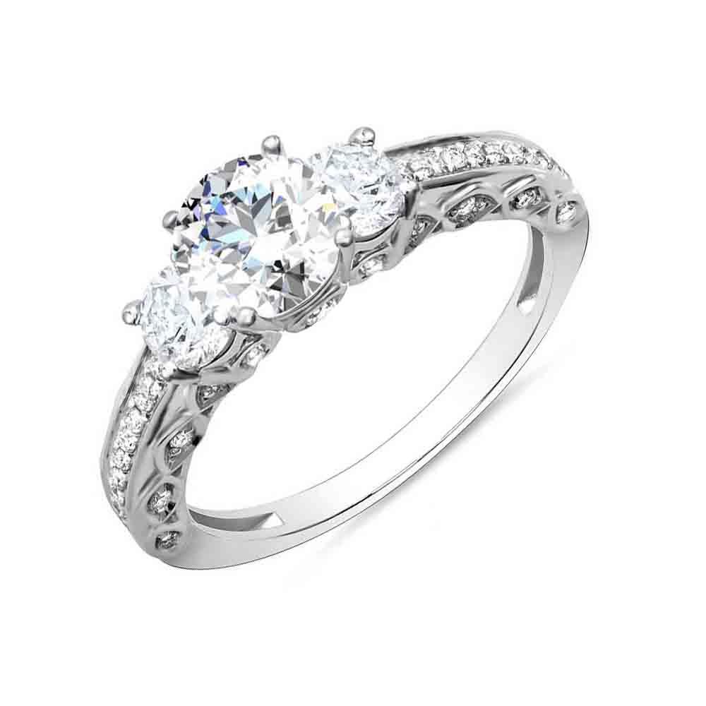 3-Stone Pave w/ Round Sidestones Diamond Ring