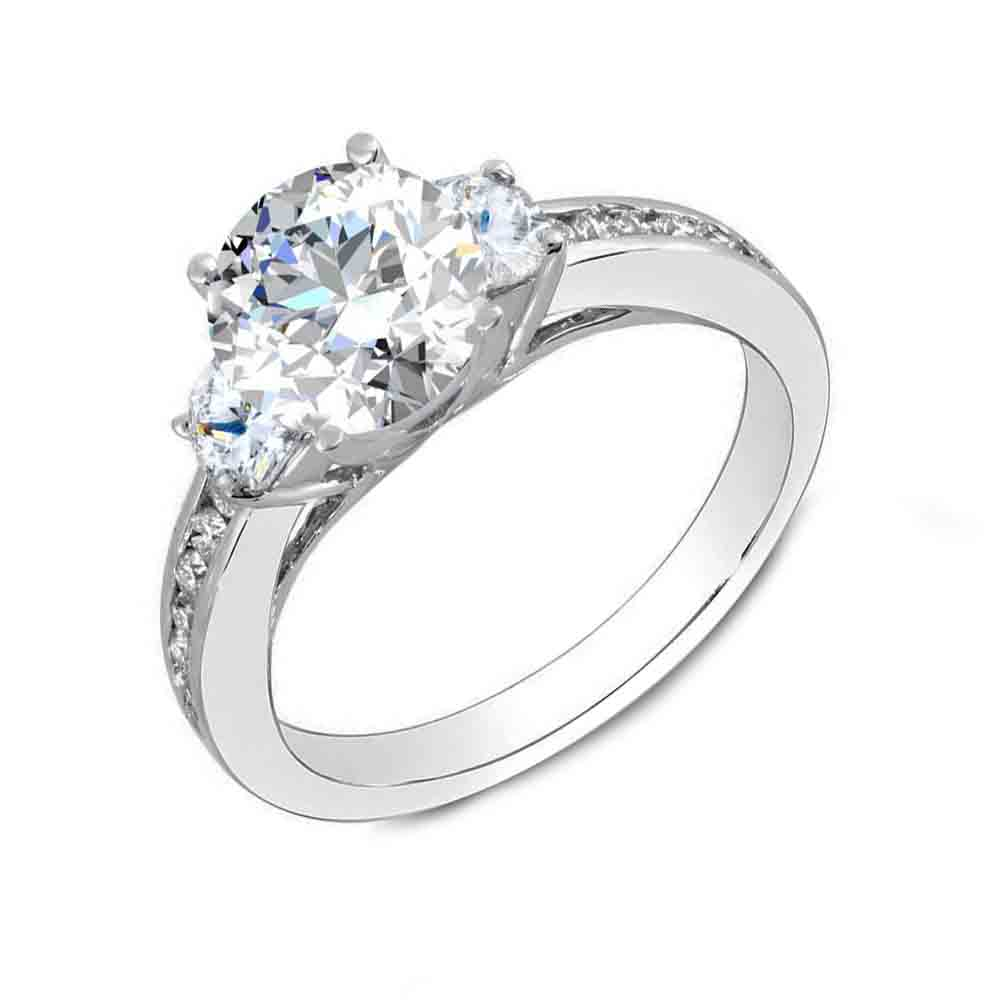 3-Stone Round Channel Set Diamond Ring