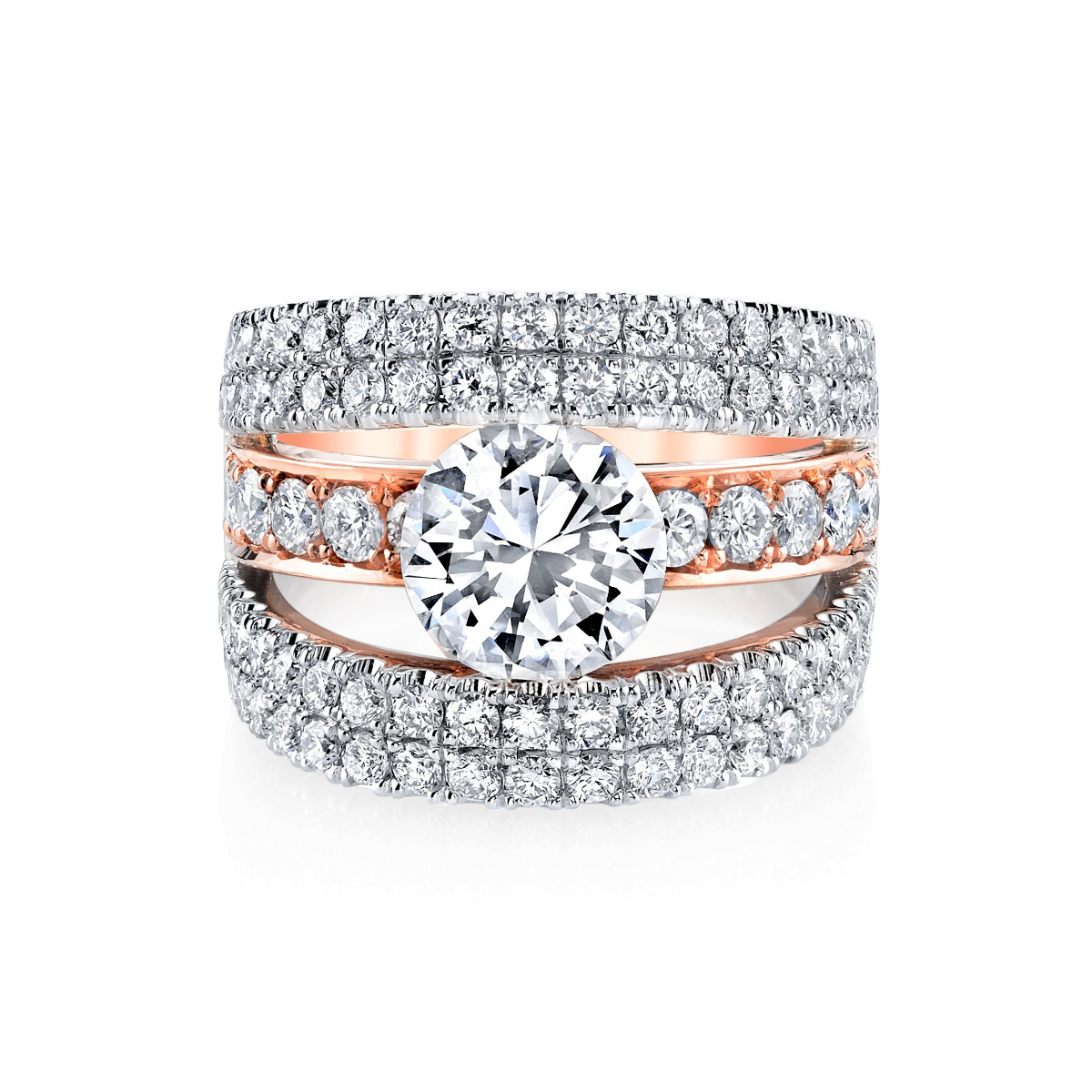 5 Row Pave Tension Set Two Toned Diamond Engagement Ring