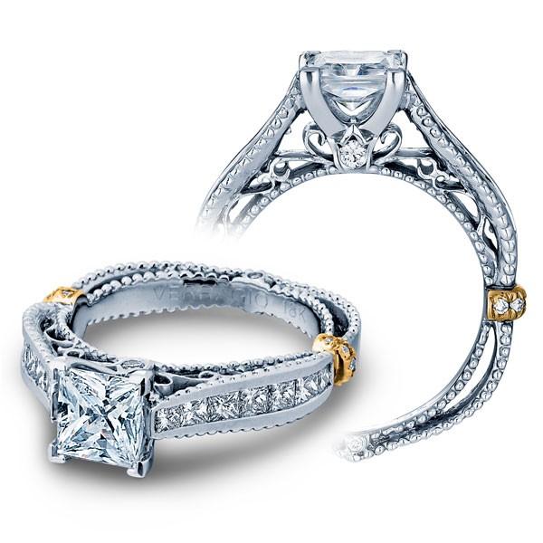 Filigree Channel Set Vintage Venetian Verragio Diamond Engagement Ring