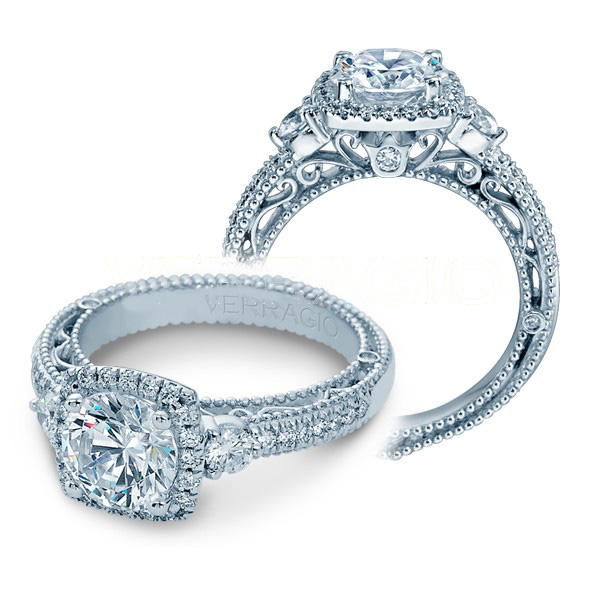 Halo 3-Stone Pave Venetian Verragio Natural Diamond Engagement Ring