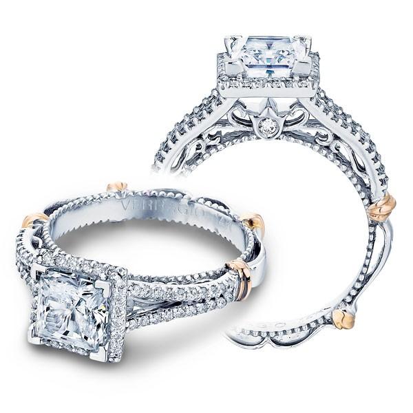 Verragio Parisian Halo Pave Split Shank Designer Engagement Ring