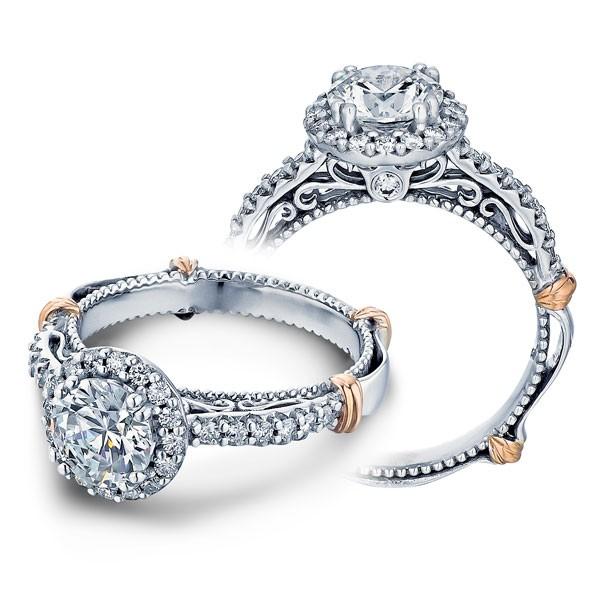Verragio Parisian Filigree Pave Halo Designer Engagement Ring