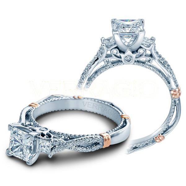 Verragio Parisian Three Stone Pave Infinity Designer Engagement Ring