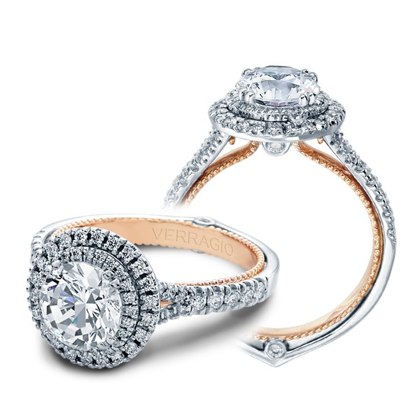 Verragio Double Halo Couture Pave Designer Engagement Ring
