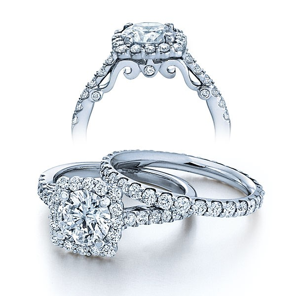 Halo Pave Insignia Verragio Vintage Natural Diamond Bridal Set