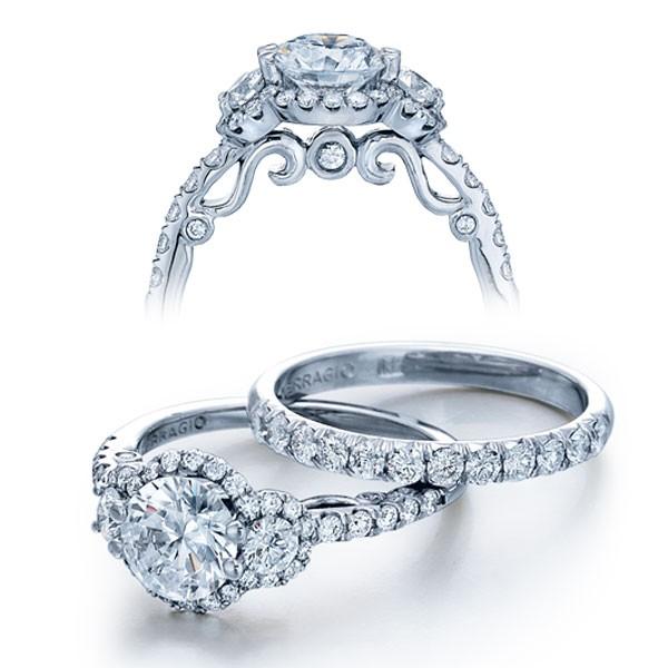 Halo Designer Insignia Verragio 3-Stone Natural Diamond Wedding Set