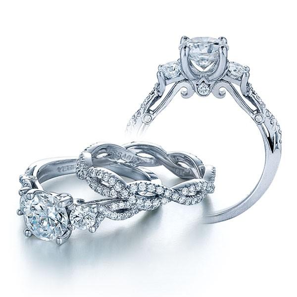 Infinity Pave Insignia Verragio 3-Stone Natural Diamond Wedding Set