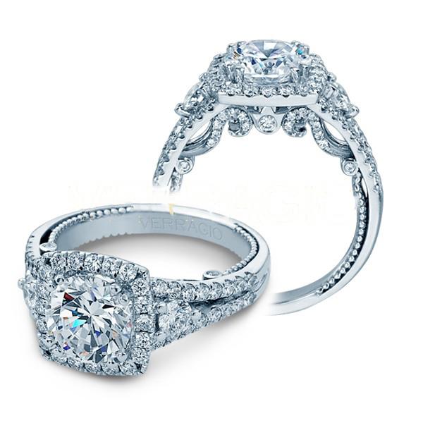 Verragio Insignia Halo 3 Stone Split Shank Designer Engagement Ring