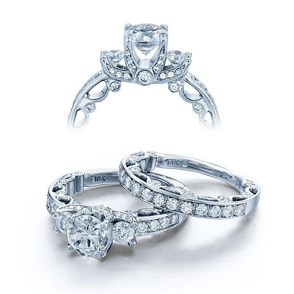 Verragio Paradiso Three Stone Pave Designer Engagement Ring