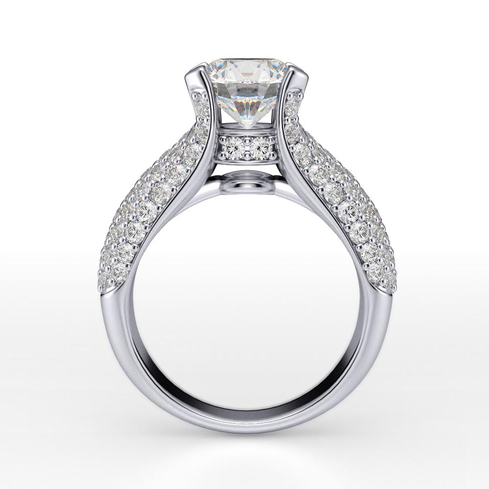 5 Row Micro Pave Diamond Engagement Ring