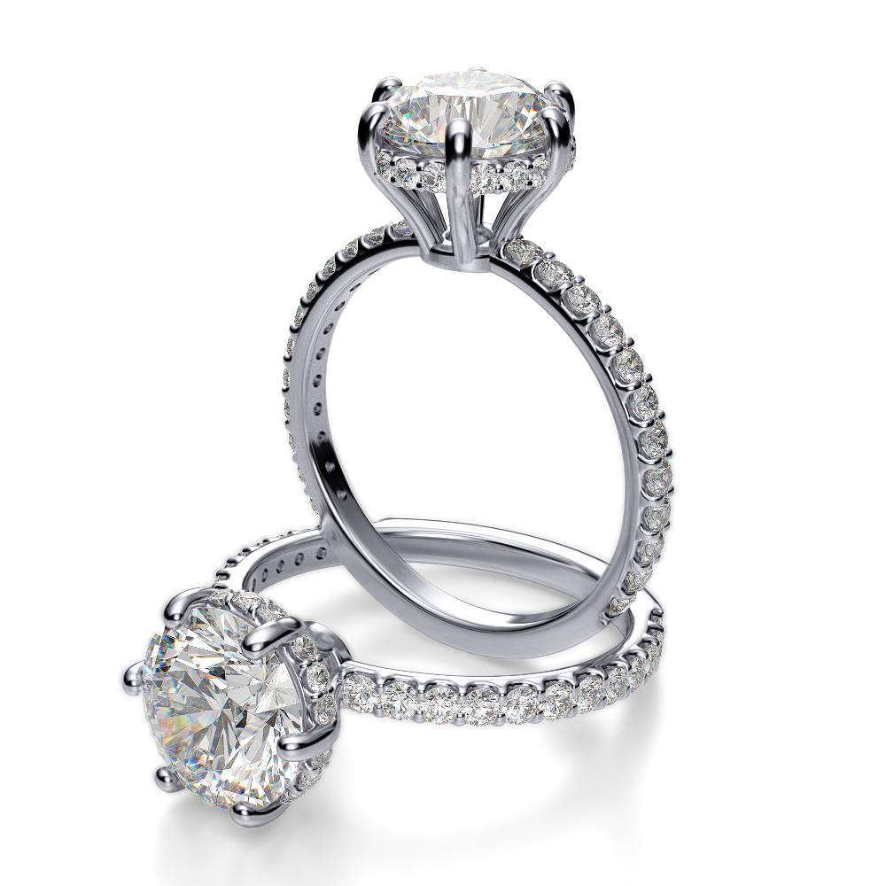 Under Halo Pave Diamond Engagement Ring