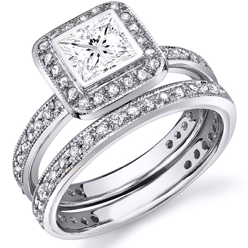 Natural Halo Pave Bezel Setting Engagement Ring