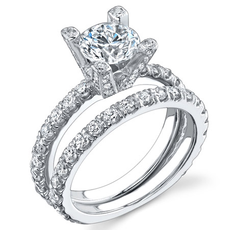 Natural Pave Prong Accent Diamond Engagement Ring