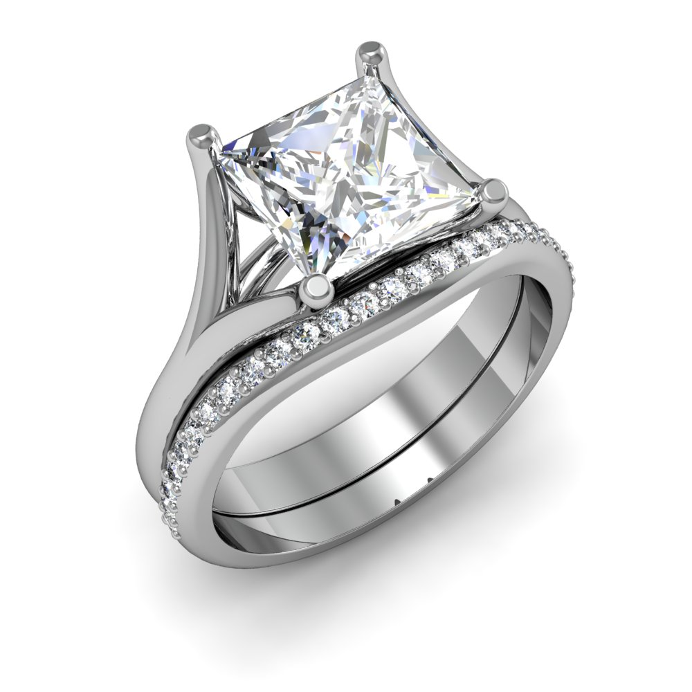 Split Shank Cathedral Solitaire Natural Diamond Engagement Ring