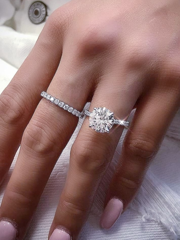 Engagement Ring Set in White Gold